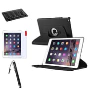 Insten 2014 Apple iPad Air 2 Black PU Leather 360 Slim Case Cover+Keyboard/Protector