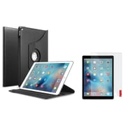 Insten 360 Degree Black Rotating Folio Leather Ultra Stand Case Cover+Screen Protector For iPad Pro