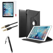Insten 4in1 360 Degree Black Rotating Leather Ultra Stand Case+Protector+Stylus+3.5mm Audio Cable For iPad Pro