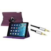 Insten 360 Rotating Swivel Stand Leather Case For iPad Air, Purple (with 3.5mm Audio Extension Cable M/M)