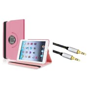 Insten Rotating Multi Angle Stand Leather Case For iPad Mini 3 2 1 , Light Pink (with 3.5mm Audio Extension Cable M/M)