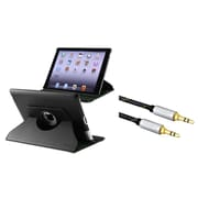 Insten 360-degree Swivel Leather Case For Apple iPad 2 / 3 / 4, Black (+ 3.5mm Audio Cable)