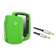 Insten Silicone Skin Case For Leapfrog LeapPad 2, Green (+3.5mm Aux Auxiliary Audio Stereo Extension M/M Cable)