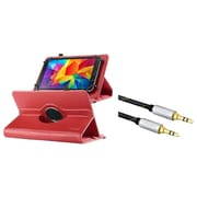 "Insten Red Universal 7"" Tablet Leather Case Universal (+ 3.5mm Aux Auxiliary Audio Stereo Extension M/M Cable)"