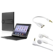 Insten Leather Cover Case+2 Headphone+GiFT For iPad 1 16G 32G