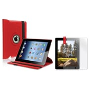 Insten Red 360 Rotating Flip Leather Case+2 Packs Clear Protector for iPad 4 4G /3 3G/2 2G (Supports Auto Sleep/Wake)