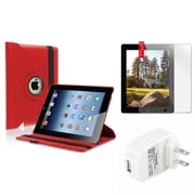 Insten Red 360 Leather Case+Screen Film+Wall Charger for iPad Retina 2 2nd 3 3rd 4 4th (Supports Auto Sleep/Wake)