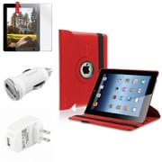Insten Red 360 Rotating Leather Case+Screen Protector+2 Charger for iPad 4 4th/3 3rd/2 (Supports Auto Sleep/Wake)