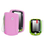 Insten Pink Rubber Skin Case+2 Packs Anti-Glare Screen Protector For LPF LeapPad 1 2 3 Explorer