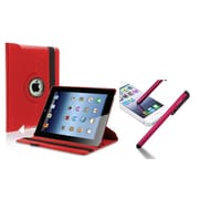 Insten Red 360-degree Leather Case with FREE Red Stylus For iPad 2 / iPad 3rd Gen / The new iPad (w/ Auto Sleep/Wake)
