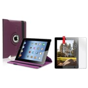 Insten Purple 360 Swivel Magnetic Leather Case Hard Cover+2 Guard for iPad 2 3 4 (Supports Auto Sleep/Wake)