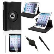 Insten Black 360 Leather Case+Stylus+Audio Cable (Auto Sleep/Wake) For iPad Mini 1 / 2 / 3