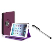 Insten Violet Purple 360 Degree Rotating Multi Angle Stand Leather Case Cover for Apple iPad Mini 1/2/3 + Free Stylus