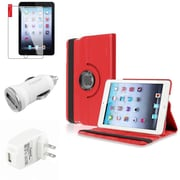 Insten Red Leather Case Guard AC Car Charger Protector Travel Charger For iPad Mini 2 3 (Auto Sleep/Wake)