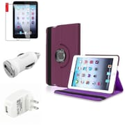 Insten Purple Leather Case Guard AC Car Charger Protector Travel Charger For iPad Mini 2 3 (Auto Sleep/Wake)