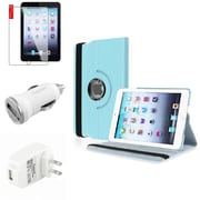 Insten Light Blue Leather Case Guard AC Car Charger Protector Travel Charger For iPad Mini 2 3 (Auto Sleep/Wake)