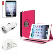 Insten 4 Accessories Hot Pink 360 Swivel Leather Case Guard AC Car Charger For Apple iPad Mini 3 3rd / 2 2nd Gen