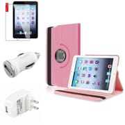 Insten Light Pink Leather Case Guard AC Car Charger Protector Travel Charger For iPad Mini 2 3 (Auto Sleep/Wake)
