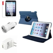 Insten Navy Blue Leather Case Guard AC Car Charger Protector Travel Charger For iPad Mini 2 3 (Auto Sleep/Wake)