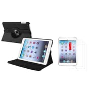 Insten Black Leather Case+3 Packs LCD Guard For iPad Mini 3rd 2nd 1st Gen (Supports Auto Sleep/Wake)