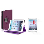 Insten Purple Leather Case Cover+3 Packs Film For Apple iPad Mini 1st 2nd 3rd Gen (Auto Sleep/Wake)