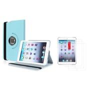 Insten Light Blue Leather Case+3 Packs Film Guard For iPad Mini 3rd 2nd 1st Gen (w/ Auto Sleep/Wake)