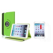 Insten Green Leather Case Cover with 3 Packs Film For Apple iPad Mini 3 2 1 (Supports Auto Sleep/Wake)