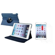 Insten Navy Blue Leather Case Cover+3 Packs Film For Apple iPad Mini 3 2 1 (w/ Auto Sleep/Wake)