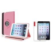 Insten Light Pink Leather Case+Matte Film For iPad Mini 3rd 2nd 1st (Supports Auto Sleep/Wake)