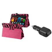 Insten Pink Zebra PU Leather Case+Car Charger For Kindle Fire HD 7 (designed for 2012 ver ONLY)(w/ Auto Sleep/Wake)