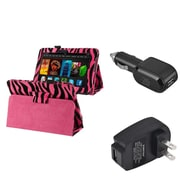 Insten Pink Zebra Leather Case+Car+Wall Charger For Kindle Fire HD 7 (designed for 2012 ver ONLY)(w/ Auto Sleep/Wake)
