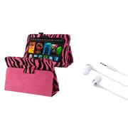Insten Pink Zebra Leather Hard Stand Case+Headset For Kindle Fire HD 7 (designed for 2012 ver ONLY)(w/ Auto Sleep/Wake)
