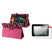 Insten Pink Zebra Leather Case+2 Packs Protector For Kindle Fire HD 7 (designed for 2012 ver ONLY)(w/ Auto Sleep/Wake)