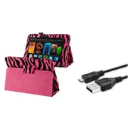 Insten Pink Zebra Leather w/ Stand Case+USB Charger Cable For Amazon Kindle Fire HD 7