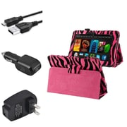 Insten Pink Zebra Leather Case+3 Charger Wall+Car+USB For Kindle Fire HD 7 (designed for 2012 ver ONLY)(w/ Auto Wake)