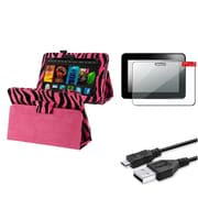 Insten Pink Zebra Stand Case Folio+Pro+USB Charger Cable For Kindle Fire HD 7 (designed for 2012 ver ONLY)(w/ Auto Wake)