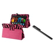 Insten Pink Zebra Leather Pouch Stand Case+Stylus For Kindle Fire HD 7 (designed for 2012 ver ONLY)(w/ Auto Sleep/Wake)