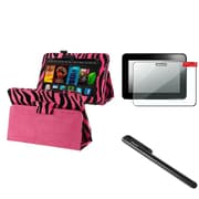"Insten Hot Pink Zebra For Kindle Fire HD 7"" Pattern PU Leather Folio Case Cover/Pen/Screen Protector"