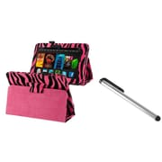 Insten Pink Zebra Leather With Stand Case+Stylus For Kindle Fire HD 7 (designed for 2012 ver ONLY)(w/ Auto Sleep/Wake)