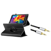 "Insten Universal 7"" Tablet Leather Case with Stand - Black (+ 3.5mm Aux Auxiliary Audio Stereo Extension M/M Cable)"