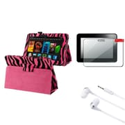 Insten Pink Zebra Leather Case+Protector+Headset For Kindle Fire HD 7 (designed for 2012 ver ONLY)(w/ Auto Sleep/Wake)