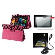 Insten Pink Zebra Stand Case+2 Packs Guard+eBook Travel Light For Kindle Fire HD 7 (designed for 2012 ver ONLY)(w/ Auto Wake)