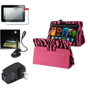 Insten Pink Zebra Case+Protector+light+Travel Charger For Kindle Fire HD 7 (designed for 2012 ver ONLY)(w/ Auto Wake)