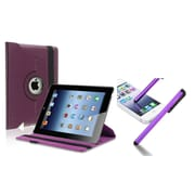 Insten Purple 360 Swivel Leather Case+Clip Screen Stylus Pen for iPad 2/3/4 4th (Supports Auto Sleep/Wake)