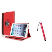 Insten Red Swivel Leather Case+Stylus Pen For iPad Mini 3/2/1 (Supports Auto Sleep/Wake)