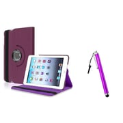 Insten Purple Leather Stand Case + Stylus For Apple iPad Mini 1st 2nd 3rd Gen (Auto Sleep/Wake)