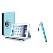 Insten Light Blue Leather Case+Stylus For Apple iPad Mini 1st 2nd 3rd Gen (Auto Sleep/Wake)