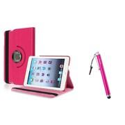 Insten Hot Pink Leather Case+Stylus For Apple iPad Mini 1st 2nd 3rd Gen (Auto Sleep/Wake)