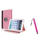 Insten Light Pink Leather Case+Stylus For Apple iPad Mini 1st 2nd 3rd Gen (Auto Sleep/Wake)