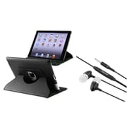 Insten 360 Swivel Black Leather Case+Stereo Headset for iPad 2/3/4 4th (Supports Auto Sleep/Wake)